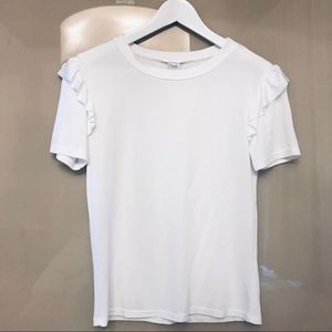White TShirt with Frills Size S NEW